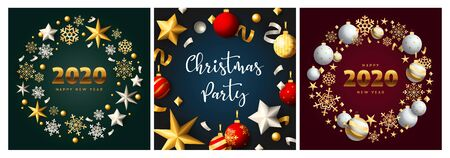 Christmas party green, blue, red banner set with baubles. New Year, Christmas, winter. Calligraphy with decorative design can be used for invitations, post cards, announcements