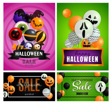 Halloween sale pink, green banner set with balloons, candies. Halloween, October, trick or treat. Lettering can be used for greeting cards, invitations, announcements
