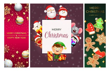 Merry Christmas pink, violet, green banner set with animals. New Year, Christmas, winter. Calligraphy with decorative design can be used for invitations, post cards, announcements