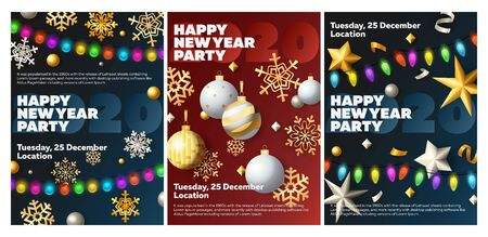 Happy New Year party blue, red banner set with baubles, garland. New Year, Christmas, winter. Calligraphy with decorative design can be used for invitations, post cards, announcements