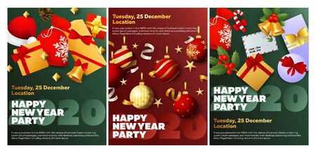 Happy New Year party green, red banner set with gifts. New Year, Christmas, winter. Calligraphy with decorative design can be used for invitations, post cards, announcements