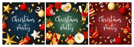 Christmas party blue, green, red banner set with baubles. New Year, Christmas, winter. Calligraphy with decorative design can be used for invitations, post cards, announcements