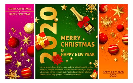 Merry Christmas pink, green, orange banner set with champagne. New Year, Christmas, winter. Calligraphy with decorative design can be used for invitations, post cards, announcements