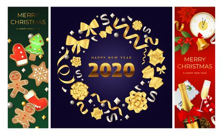 Merry Christmas green, blue, red banner set with wreath. New Year, Christmas, winter. Calligraphy with decorative design can be used for invitations, post cards, announcements