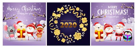Merry Christmas violet, blue banner set with animals. New Year, Christmas, winter. Calligraphy with decorative design can be used for invitations, post cards, announcements
