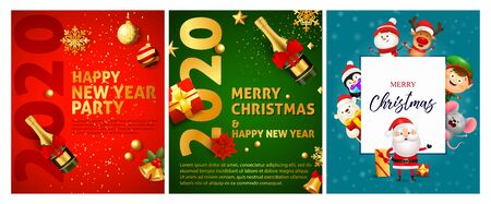 Merry Christmas red, green, blue banner set with animals. New Year, Christmas, winter. Calligraphy with decorative design can be used for invitations, post cards, announcements