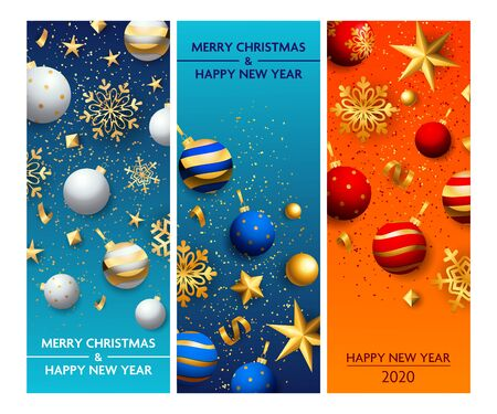 Happy New Year blue, orange banner set with baubles. New Year, Christmas, winter. Calligraphy with decorative design can be used for invitations, post cards, announcements Иллюстрация