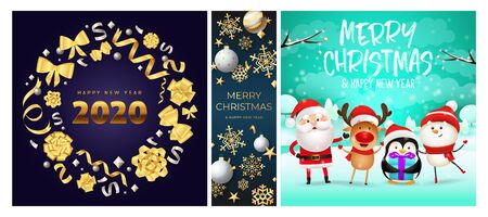 Merry Christmas blue, cyan banner set with wreath, animals. New Year, Christmas, winter. Calligraphy with decorative design can be used for invitations, post cards, announcements Иллюстрация