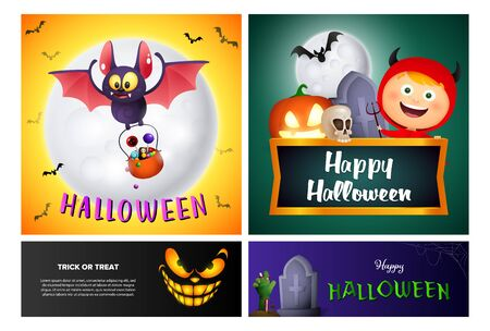 Happy Halloween yellow, green banner set with devil. Halloween, October, trick or treat. Lettering can be used for greeting cards, invitations, announcements
