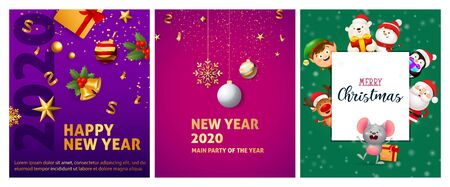 New Year violet, pink, green banner set with animals. New Year, Christmas, winter. Calligraphy with decorative design can be used for invitations, post cards, announcements
