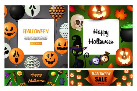 Halloween sale green, gray banner set with candies. Halloween, October, trick or treat. Lettering can be used for greeting cards, invitations, announcements