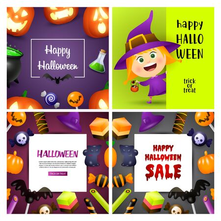 Happy Halloween violet, green banner set with witch, candies. Halloween, October, trick or treat. Lettering can be used for greeting cards, invitations, announcements