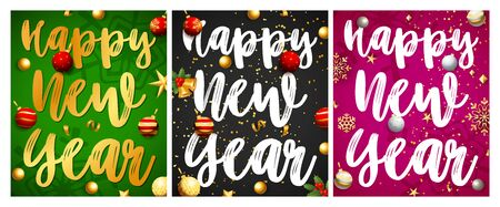 Happy New Year green, black, pink banner set with balls. New Year, Christmas, winter. Calligraphy with decorative design can be used for invitations, post cards, announcements