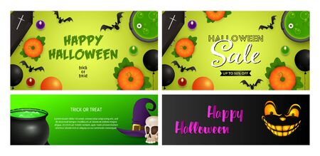 Happy Halloween green, black banner set with coffins. Halloween, October, trick or treat. Lettering can be used for greeting cards, invitations, announcements