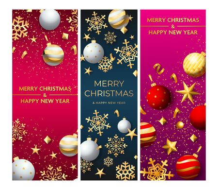 Merry Christmas pink, blue, purple banner set with baubles. New Year, Christmas, winter. Calligraphy with decorative design can be used for invitations, post cards, announcements