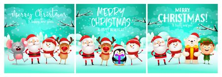 Merry Christmas cyan banner set with animals, Santa. New Year, Christmas, winter. Calligraphy with decorative design can be used for invitations, post cards, announcements