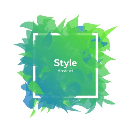 Style abstract template with elements looking like petals. Gradient color, green, blue. .Abstract background design. Vector illustration with advertising concept , flyer or presentation