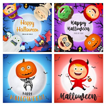 Happy Halloween blue, red banner set with skeleton, devil. Halloween, October, trick or treat. Lettering can be used for greeting cards, invitations, announcements