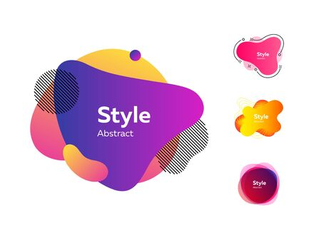 Bright multi layer irregular shapes set. Multicolored abstract figures and lines with sample text. Trendy minimal templates for presentations, flyers, banners and web pages. Vector illustration