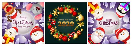 Merry Christmas green, blue banner set with animals, gifts. New Year, Christmas, winter. Calligraphy with decorative design can be used for invitations, post cards, announcements