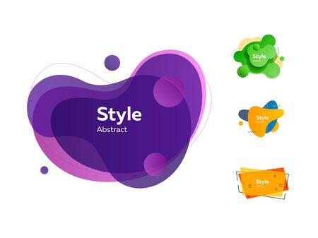 Vibrant dynamic fluid shapes. Dynamical colored forms. Gradient banners with flowing liquid shapes. Template for design, flyer or presentation. Vector illustration Ilustração