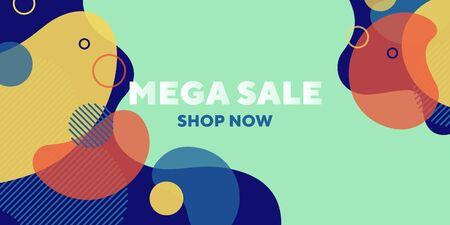 Mega sale abstract banner design with dynamical forms. Fluid shapes, flowing liquid, mint background. Trendy design for posters, flyers, advertising design Ilustração