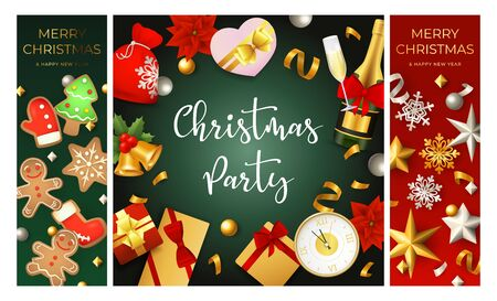 Christmas party flyers set with champagne, gifts, clock, confetti, gingerbread cookies. Vector illustration for festive poster, greeting card, banner design