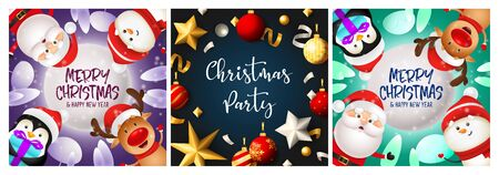 Christmas party violet, blue banner set with penguin, santa. New Year, Christmas, winter. Calligraphy with decorative design can be used for invitations, post cards, announcements 일러스트