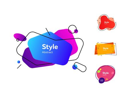 Background set of trendy bubble-shaped elements. Gradient banners with flowing liquid shapes. Template for design , flyer or presentation. Vector illustration