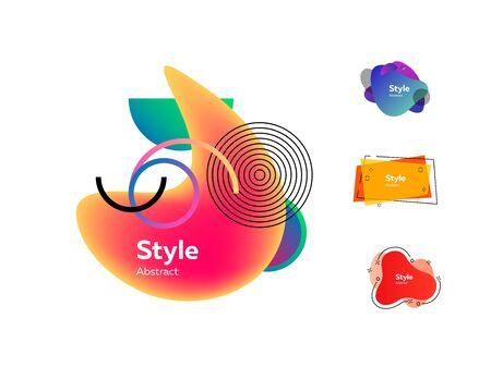 Abstract colorful banners set. Modern dynamic geometric shapes with sample text. Trendy minimal templates for presentations, banners, posters and flyers. Vector illustration Ilustração
