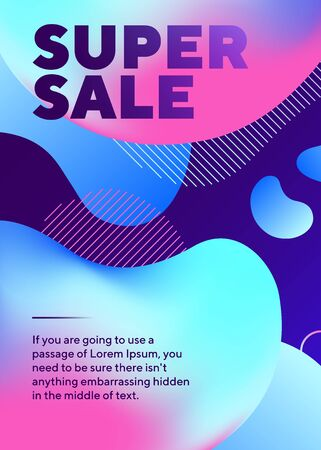 Super sale lettering with abstract fluid shapes. Organic forms, flowing liquid, dynamical colored background. Trendy design for posters, flyers, advertising design