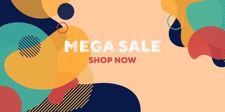 Sale shop now abstract banner design with overlaid forms. Fluid dynamical shapes, flowing liquid, beige background. Trendy design for posters, flyers, advertising design Ilustração