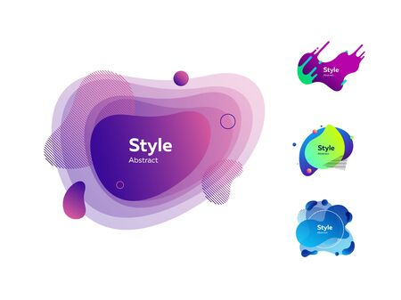 Liquid elements with text sample. Dynamical colored forms and dots. Gradient banners with flowing liquid shapes. Template for design of business card, offer or presentation. Vector illustration