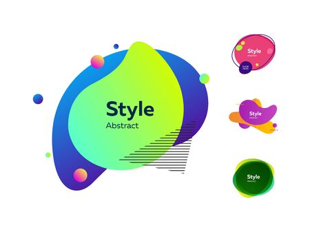Dynamic stylish abstract figures. Gradient banners with flowing liquid shapes. Vector illustration. Can be used for advertising, marketing, presentation Ilustração