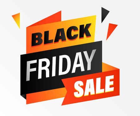 Black Friday announcement flyer design. Sale text on black, red and yellow origami papers. Sale and shopping concept. Vector illustration for advertising banner, signs, posters Ilustração