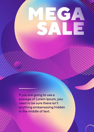 Mega sale text with abstract neon shapes. Organic forms, flowing liquid, gradient colored background. Trendy design for posters, flyers, advertising design