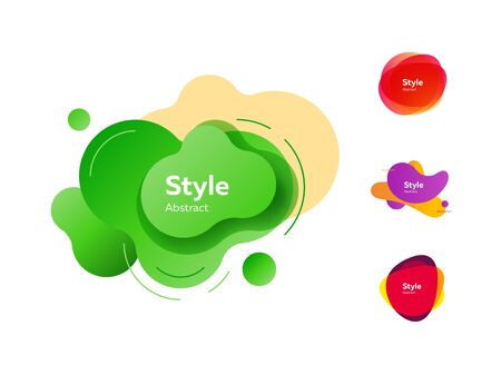 Fluid design shapes with inscriptions. Dynamical colored forms and line. Gradient banners with flowing liquid shapes. Template for design of website, placard or presentation. Vector illustration