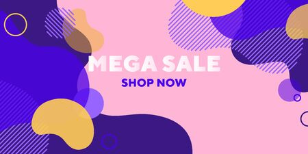 Mega sale abstract banner design with overlaid forms. Fluid dynamical shapes, flowing liquid, pink background. Trendy design for posters, flyers, advertising design Ilustração