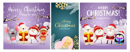 Christmas postcard set with present box, tree branches, cartoon characters on snow. Vector illustration for festive posters, greeting cards, banner design Ilustração