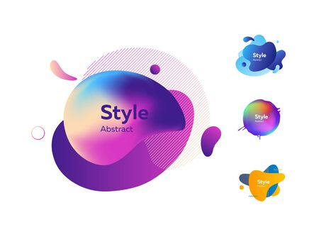Set of colorful gradient abstract elements. Dynamical liquid shapes with sample text. Templates for presentations, banners, flyers and apps. Vector illustration Ilustração