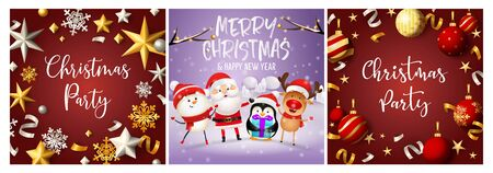 Christmas party red, violet banner set with Santa. New Year, Christmas, winter. Calligraphy with decorative design can be used for invitations, post cards, announcements 일러스트