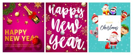 Happy New Year pink, blue banner set with animals, champagne. New Year, Christmas, winter. Calligraphy with decorative design can be used for invitations, post cards, announcements 일러스트