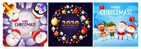 Merry Christmas violet, blue banner set with Santa. New Year, Christmas, winter. Calligraphy with decorative design can be used for invitations, post cards, announcements