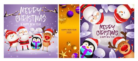 Merry Christmas violet, orange banner set with animals, Santa. New Year, Christmas, winter. Calligraphy with decorative design can be used for invitations, post cards, announcements