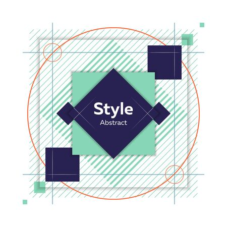Geometric abstract badge. Dynamical colored forms and lines. Abstract banner with geometric shapes. Template for web app, banner, advertising. Vector illustration Ilustração