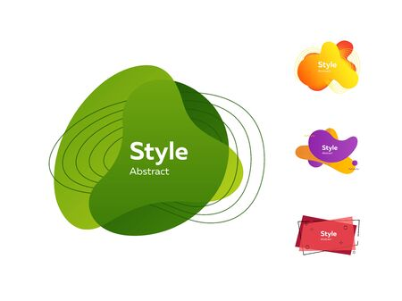 Set of colorful abstract style elements. Dynamical liquid shapes for banners. Trendy minimal templates for presentations, banners, apps and web pages. Vector illustration 일러스트