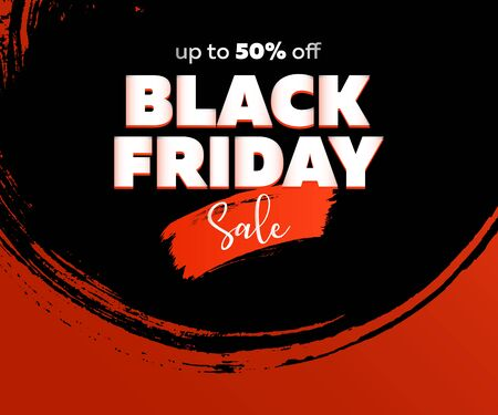 Black Friday advertising poster design. Sale text on circular black and red paint strokes. Sale and shopping concept. Vector illustration for flyers, signs, banners