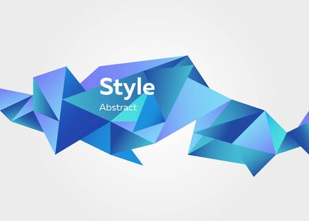 Abstract illustration of graphic 3d crystal colorful shape. Straight lines, shades of blue. Abstract background design. Vector. Template  flyer or presentation
