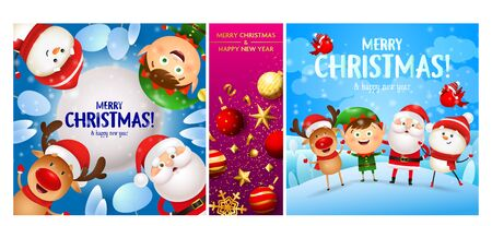 Merry Christmas blue, pink banner set with Santa. New Year, Christmas, winter. Calligraphy with decorative design can be used for invitations, post cards, announcements