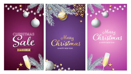 Christmas Sale banner set with hanging silver baubles, tree branches, string of lights, flute of wine. Vector illustration for advertising flyers, poster design, greeting cards